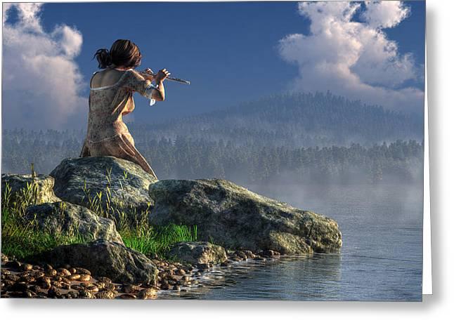 Flutist On The Lake Greeting Card by Daniel Eskridge