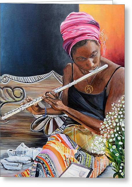 Santa Cruz Greeting Cards - Flute Player Greeting Card by Marilyn  McNish