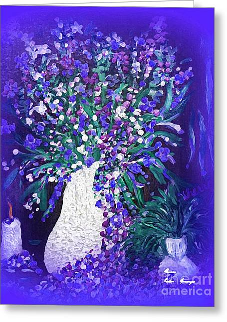 Greeting Cards - Flwer Art  Spring flowers In A Vase Greeting Card by Sherri  Of Palm Springs