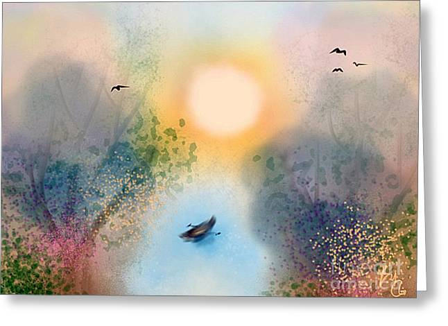 Swan Fantasy Art Greeting Cards - Fly Away Greeting Card by Chris Garcia