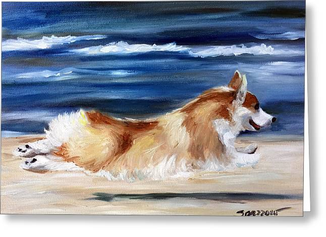 Puppies Paintings Greeting Cards - Fly Away Greeting Card by Mary Sparrow
