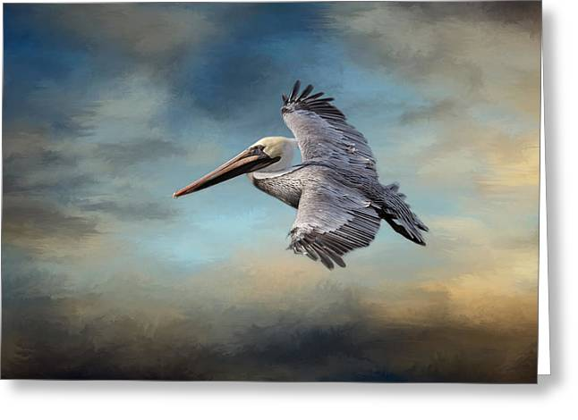 Grey Clouds Greeting Cards - Fly Away With Me Greeting Card by Kim Hojnacki