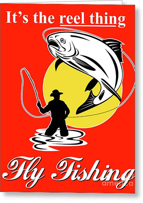Fly Fisherman Catching Trout Greeting Card by Aloysius Patrimonio