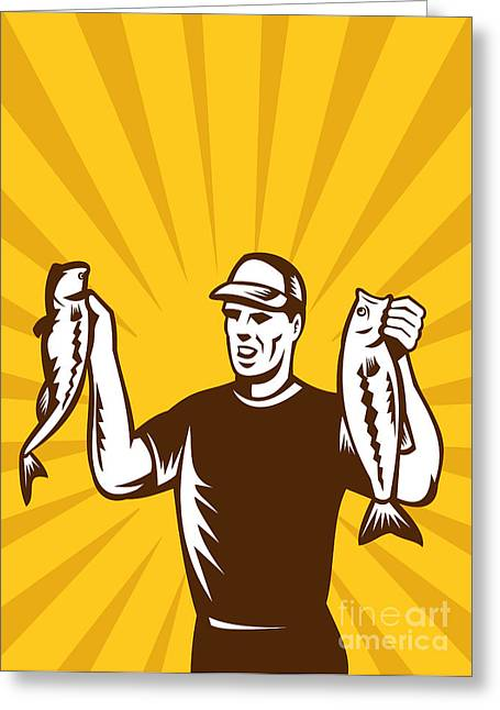 Largemouth Digital Art Greeting Cards - Fly Fisherman holding bass fish catch Greeting Card by Aloysius Patrimonio