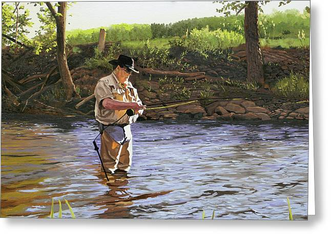 Trout Fishing Greeting Cards - Fly Fisherman Greeting Card by Kenneth Young