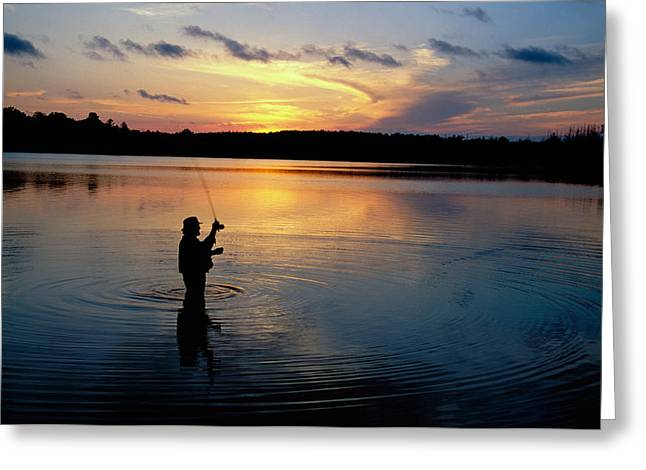 Kettle Moraine Greeting Cards - Fly-fisherman Silhouetted By Sunrise Greeting Card by Panoramic Images