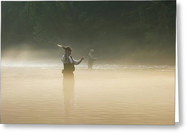 Wade Fishing Greeting Cards - Fly Fishing  Greeting Card by Betty LaRue