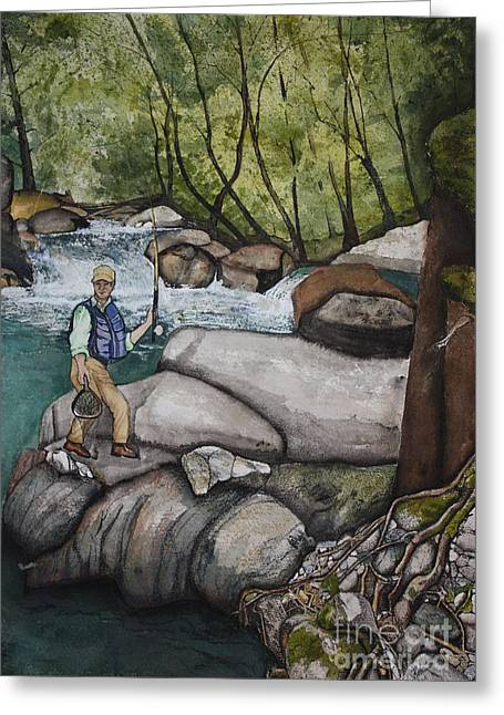 Terri Waters Paintings Greeting Cards - Fly Fishing Eldorado Greeting Card by Terri Robertson