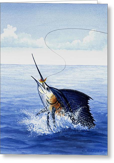 Igfa Greeting Cards - Fly Fishing for Sailfish Greeting Card by Charles Harden