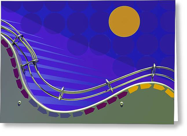 Fly Me To The Moon - Abstract Greeting Card by Nikolyn McDonald