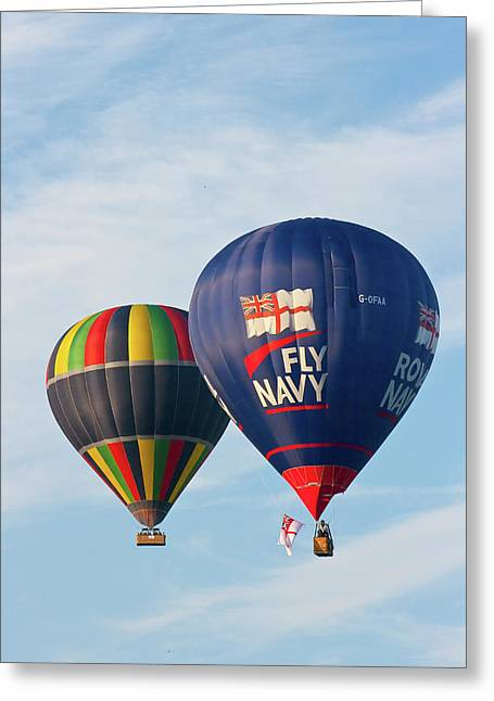 Hot Air Balloons Greeting Cards - Fly Navy Greeting Card by Brian Roscorla