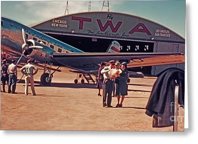 Rolf Bertram Greeting Cards - Fly TWA The Lindberg Line by Henry Bosis Greeting Card by Rolf Bertram