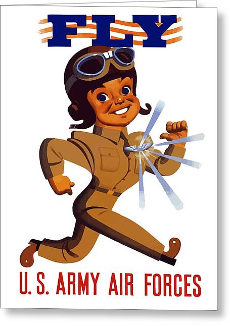 Aviator Greeting Cards - FLY US Army Air Forces Greeting Card by War Is Hell Store