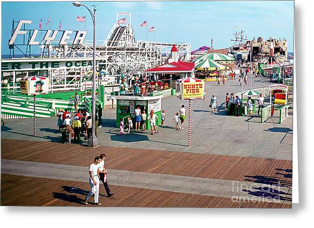 Flyer Greeting Cards - Flyer Roller Coaster on Hunts Pier Wildwood New Jersey Greeting Card by Retro Views