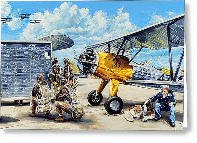 Military Airplanes Paintings Greeting Cards - Flyers In The Heartland Greeting Card by Charles Taylor