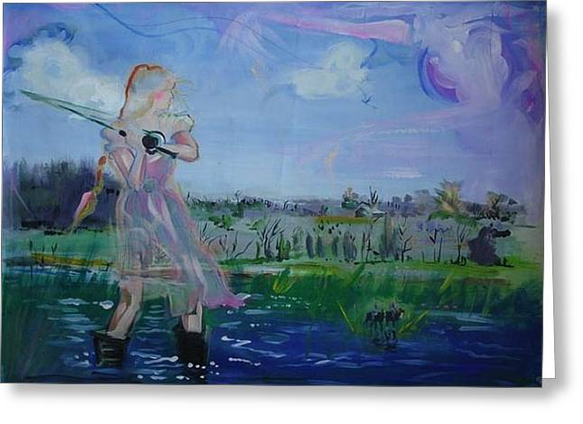 Mystical Landscape Greeting Cards - Flyfishing Greeting Card by Phoebe Legere
