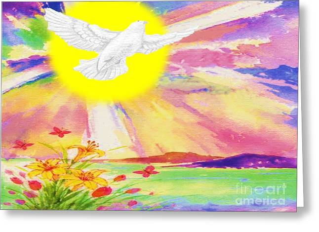 Dove Pastels Greeting Cards - Flying At Sunrise Greeting Card by Belinda Threeths