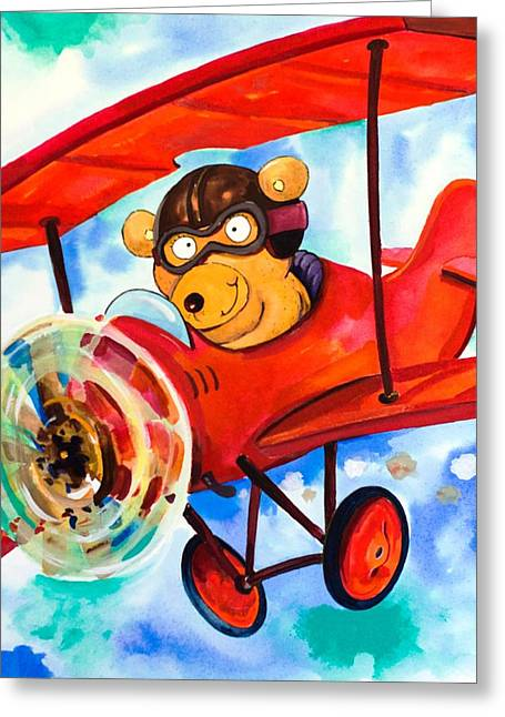 Juvenile Wall Decor Paintings Greeting Cards - Flying Bear Greeting Card by Scott Nelson