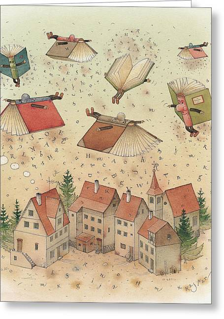 Book Greeting Cards - Flying Books Greeting Card by Kestutis Kasparavicius