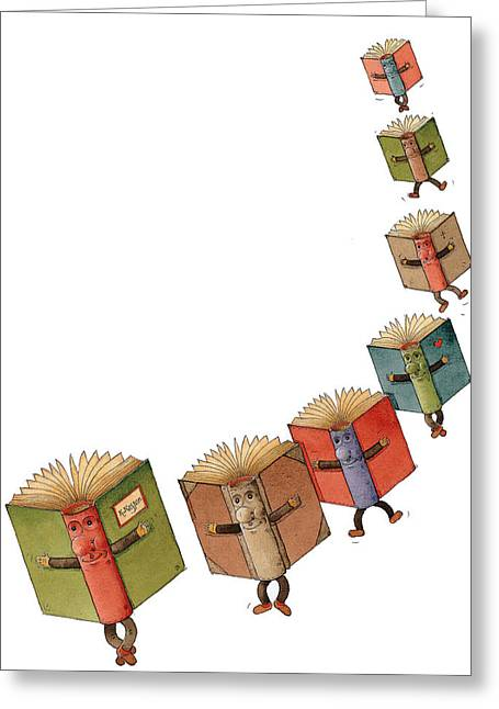 Flying Drawings Greeting Cards - Flying Books02 Greeting Card by Kestutis Kasparavicius