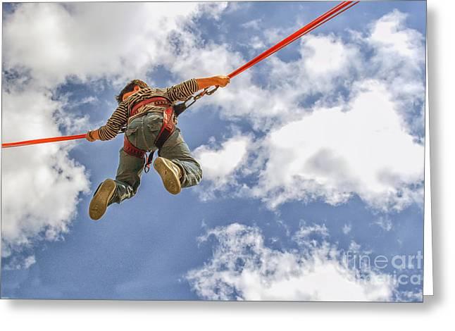 Flying Boy Greeting Card by Patricia Hofmeester