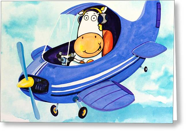 Flying Cow Greeting Card by Scott Nelson
