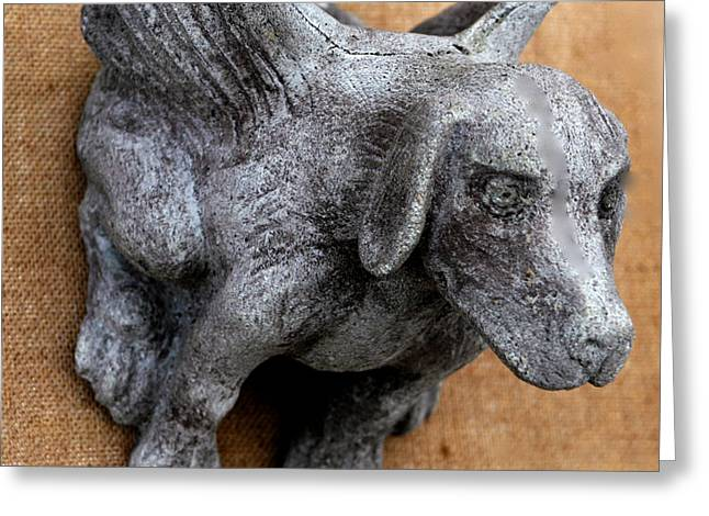 Dog Sculptures Greeting Cards - Flying dog gargoyle Greeting Card by Katia Weyher