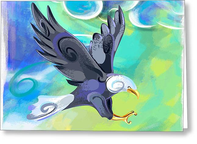 Wild Bird Mixed Media Greeting Cards - Flying Eagle Greeting Card by Bedros Awak