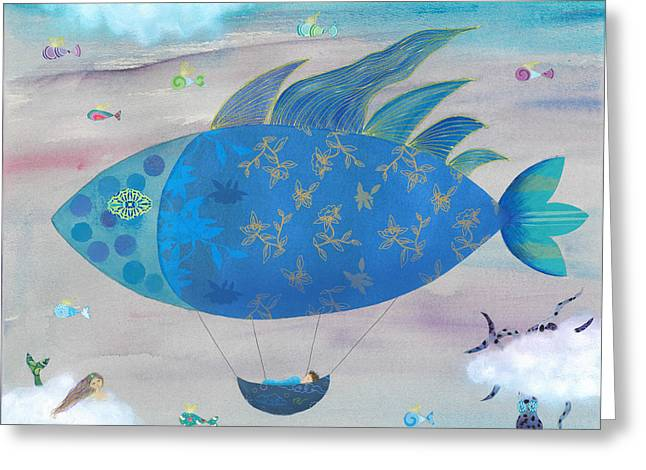 Sleeping Mermaid Greeting Cards - Flying Fish in Sea of Clouds with Sleeping Child Greeting Card by Sukilopi Art