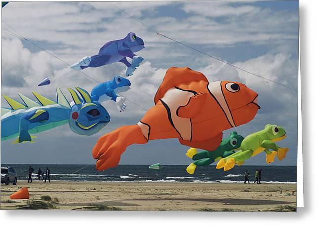 Kites Greeting Cards - Flying Fish Greeting Card by Wedigo Ferchland