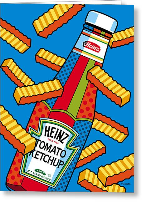Bold Color Greeting Cards - Flying Fries Greeting Card by Ron Magnes