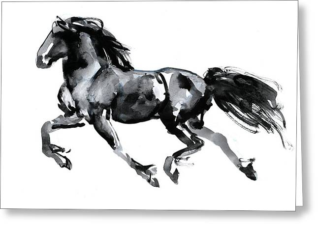 Horse Drawings Greeting Cards - Flying Friesian Greeting Card by Mark Adlington