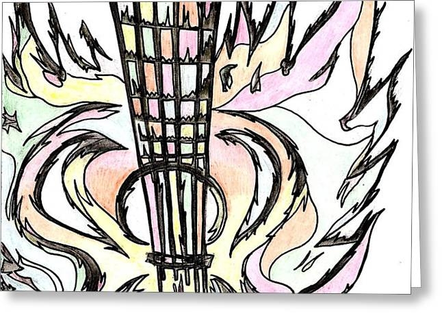 Flying Guitar  Greeting Card by Levi Glassrock
