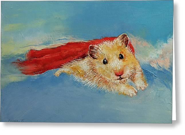 Hamster Superhero Greeting Card by Michael Creese