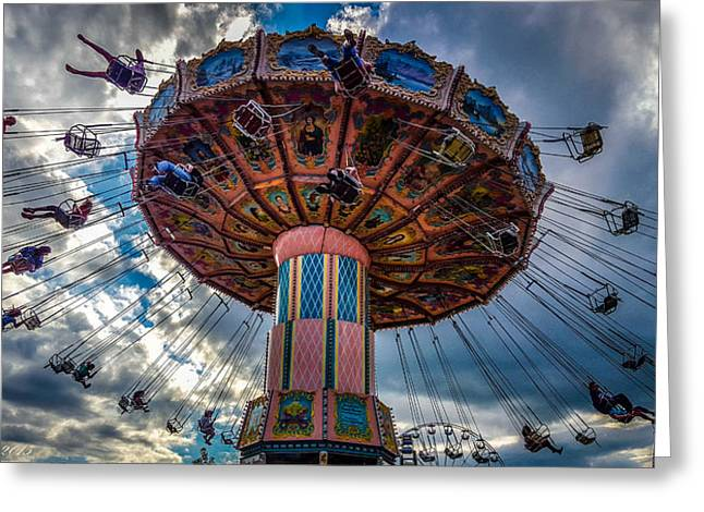 Amusements Greeting Cards - Flying High Greeting Card by Carlos Ruiz