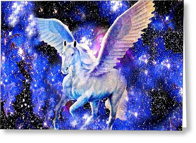 Flying Animal Greeting Cards - Flying Horse in the Starry Night Sky Greeting Card by Saundra Myles