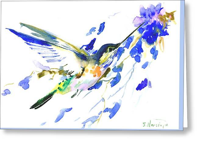 Flying Hummingbird Greeting Card by Suren Nersisyan