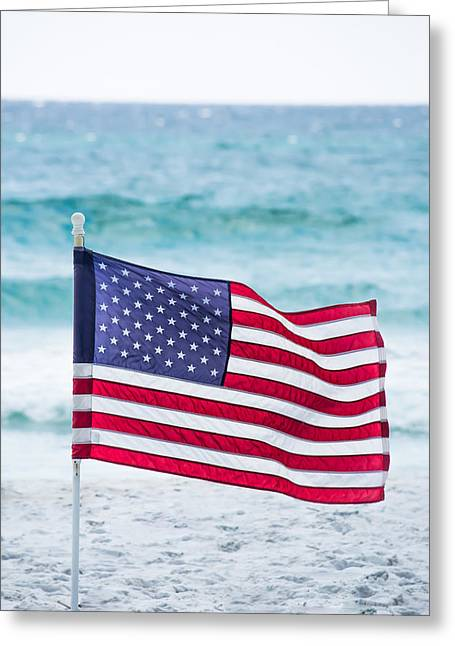 Flag Of Usa Greeting Cards - Flying in the Beach Breeze Greeting Card by Shelby  Young
