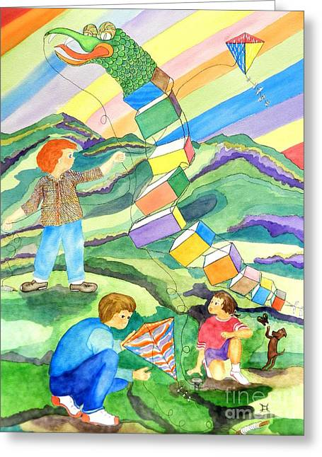Saw Greeting Cards - Flying Kites Greeting Card by Puente