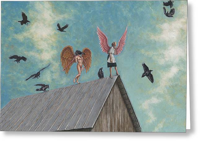 Courage Paintings Greeting Cards - Flying Lessons Greeting Card by Holly Wood