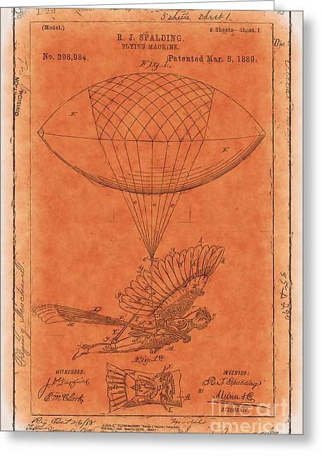 Orange Print Greeting Cards - Flying Machine - 01c02 Greeting Card by Variance Collections