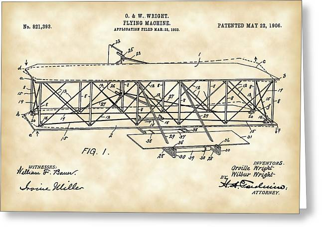 Antique Digital Greeting Cards - Flying Machine Patent 1903 - Vintage Greeting Card by Stephen Younts