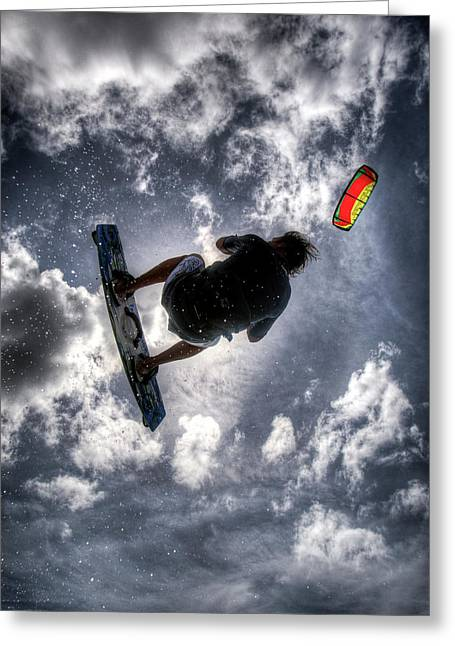 Best Sellers -  - Kiteboarding Greeting Cards - Flying  Greeting Card by Nick  Shirghio