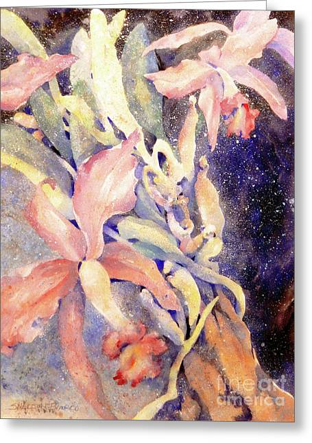 Sea Birds Greeting Cards - Flying Orchids Greeting Card by Sharon Nelson-Bianco