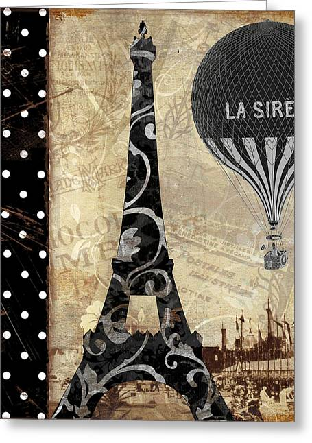 Paris Paintings Greeting Cards - Flying Over Paris Greeting Card by Mindy Sommers