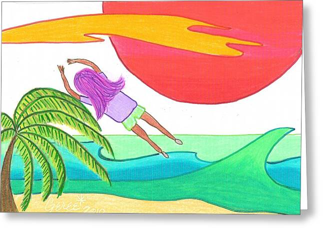 Flying Over The Beach Greeting Card by Geree McDermott