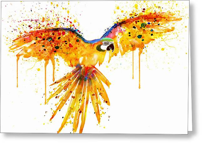 Dripping Paint Greeting Cards - Flying Parrot watercolor Greeting Card by Marian Voicu