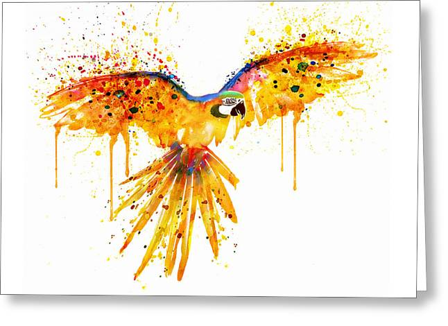 Painted Walls Greeting Cards - Flying Parrot watercolor Greeting Card by Marian Voicu