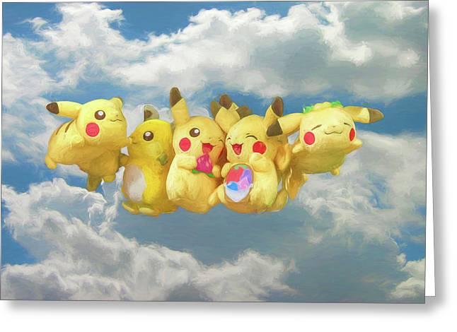 Flying Pokemon Greeting Card by John Haldane