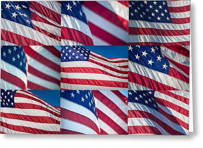 Flag Colors Greeting Cards - Flying Proud Greeting Card by Steve Gadomski